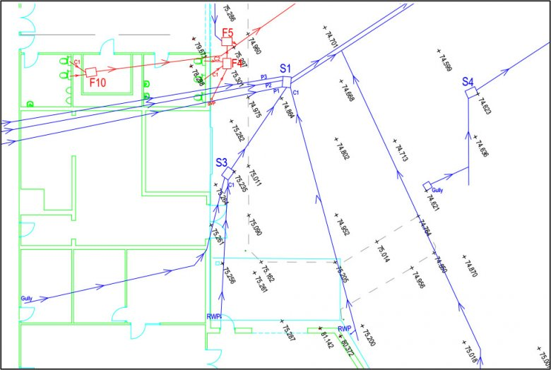 Site drainage plan showing foul and surface water drainage by County Drains Leicester Ltd